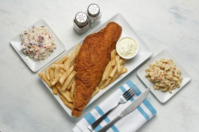 Fish Fry with Cole Slaw and Mac Salad