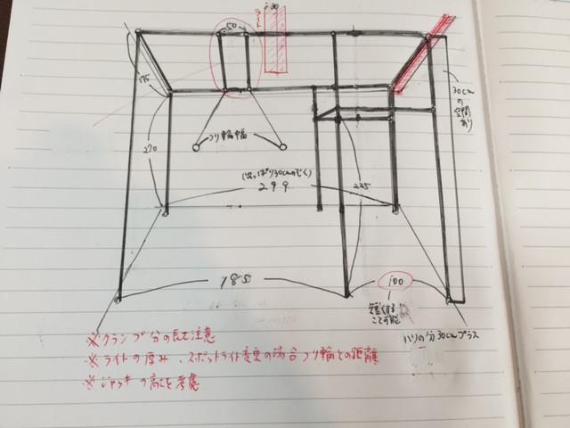 つくるビル305号室のスポーツジム MOVEMENTの単管パイプの大まかな作成図