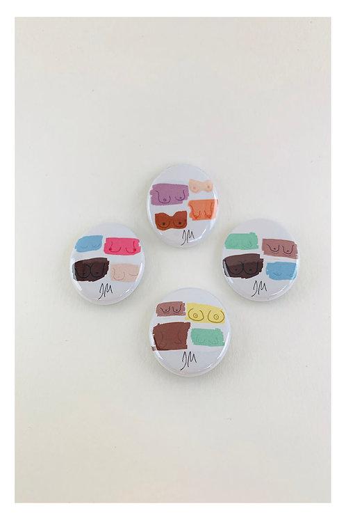 Boob Button Badge Set of 4