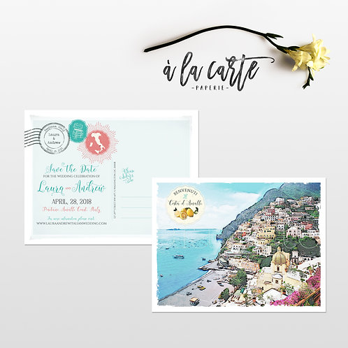 Positano Amalfi Coast Italy Save the Date postcards with watercolor illustration