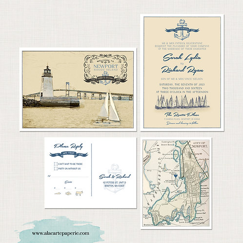 Newport Beach Rhode Island Nautical Wedding Invitation Set Destination wedding