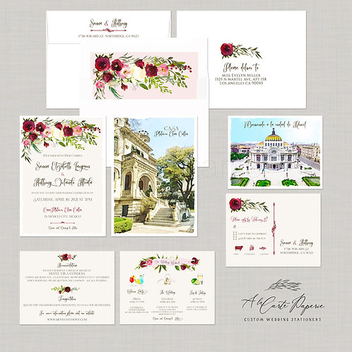 Mexico City watercolor illustrated destination wedding invitation set