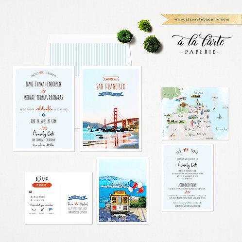 San Francisco California USA Illustrated Wedding Invitation set watercolors