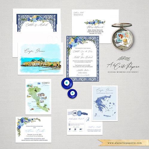 Corfu Greece Greek Island Watercolor Destination Wedding Invitation set