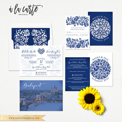 Budapest Hungary Illustrated Destination wedding invitation Eastern European