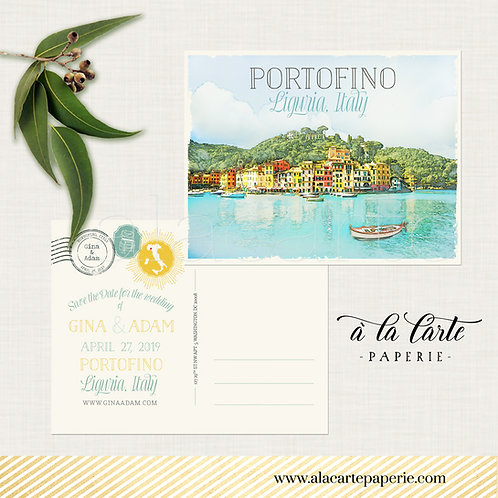 Portofino Liguria Italy Illustrated Destination Wedding Save the date postcard