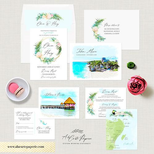 Tulum Riviera Maya Mexico watercolor illustrated destination wedding invitation