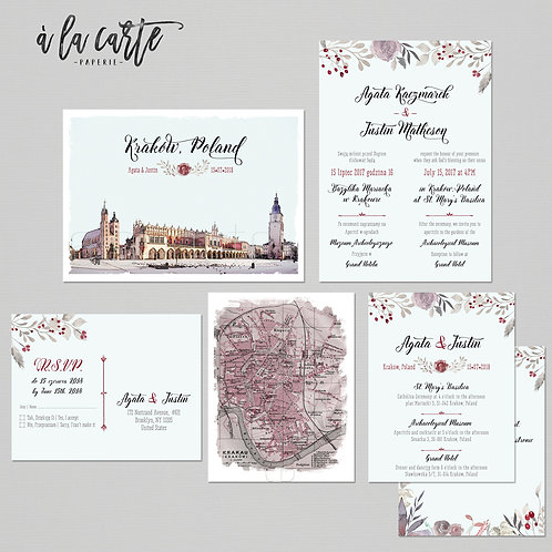 Krakow Poland Destination wedding invitation Polish Eastern European wedding