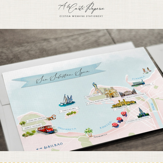Map of San Sebastian Spain A la Carte Paperie