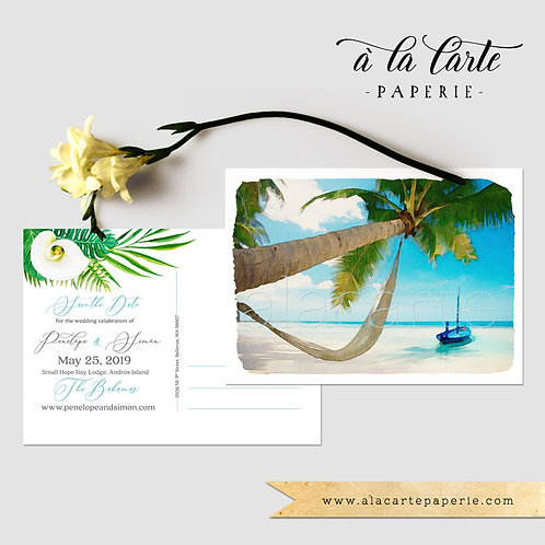 Bahamas Tropical Destination wedding illustrated Save the Date postcard Beach