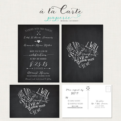 This day, I will marry my best friend Chalkboard inspired Heart Invitation