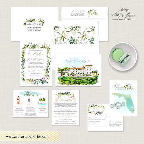 Florida Miami Vizcaya Museum Gardens Destination wedding invitation watercolors