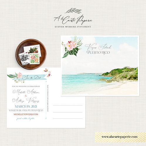 Puerto Rico Vieques Island Beach save the date postcards with watercolor illustr