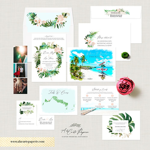 Turks and Caicos Caribbean Beach Destination wedding invitation watercol