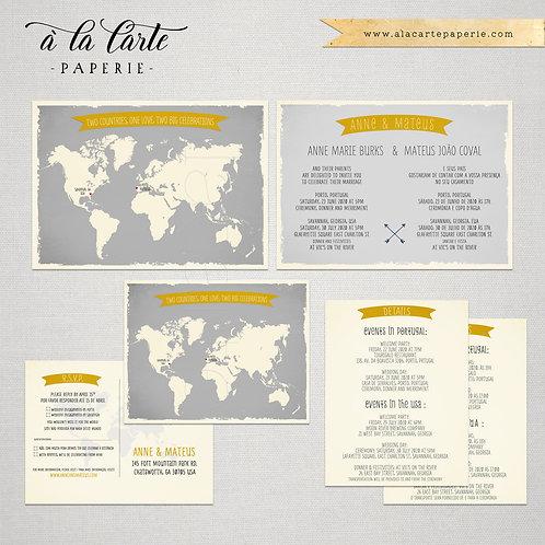 Bilingual wedding invitation World map Portuguese English grey and yellow
