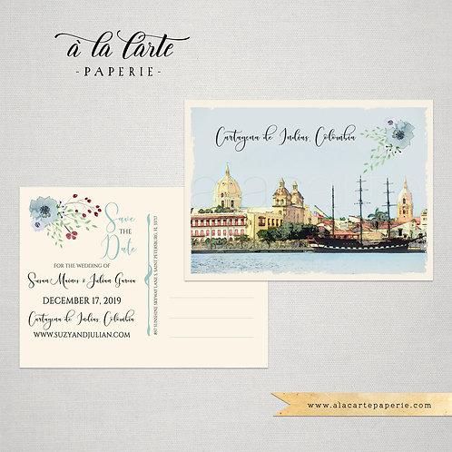 Cartagena Colombia Bilingual Destination wedding Save the date postcard