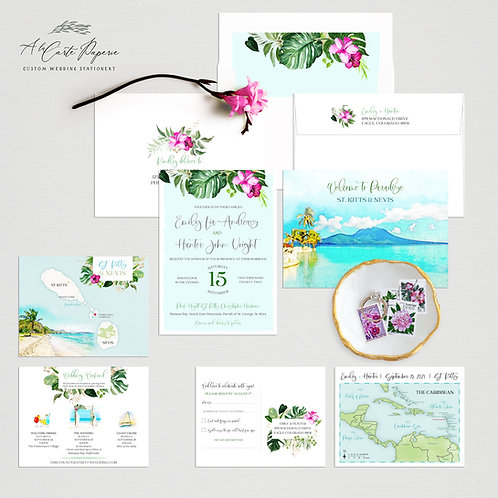 St Kitts and Nevis Caribbean Watercolor Illustrated Destination Wedding Invite