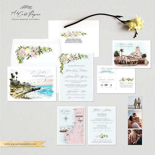 La Jolla California San Diego Watercolor Destination wedding invitation set