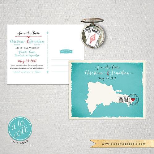 Dominican Republic Island Map Illustrated Destination Wedding Save