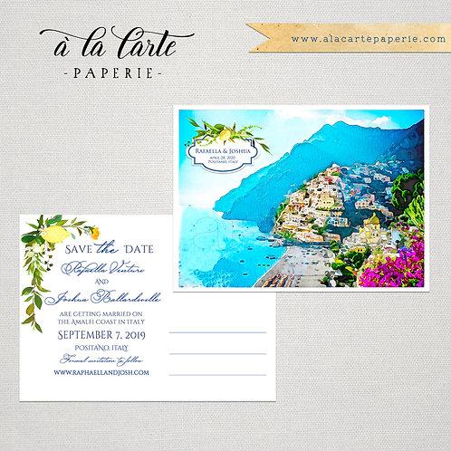 Positano Amalfi Coast Italy Save the Date Watercolor Illustrated postcards
