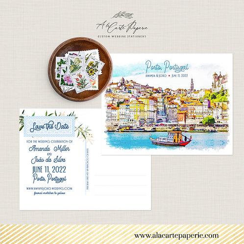 Porto Portugal  Save the Date Illustrated Destination wedding invitation card