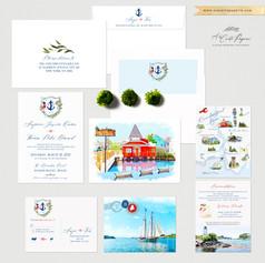 Kennebunkport Maine Coastal Wedding Invitation Set with watercolor illustrations
