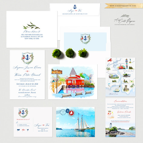 Kennebunkport Maine Coastal Wedding Invitation Set with watercolor illustrations