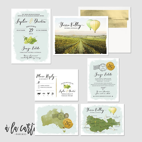 Australia Yarra Valley illustrated destination winery wedding invitation in gold