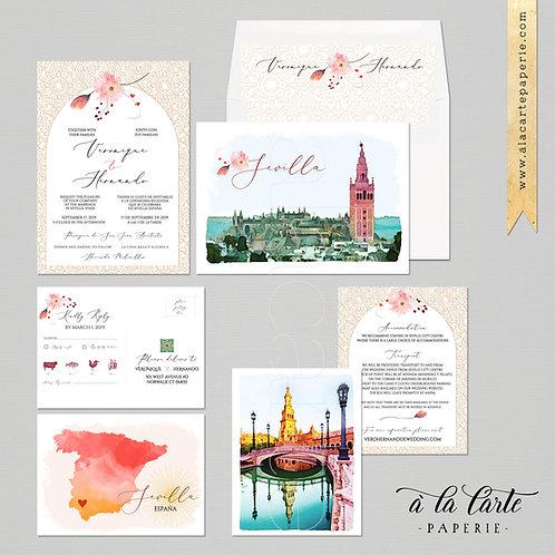 Sevilla Spain Illustrated Destination Wedding Invitation Set Spanish wedding