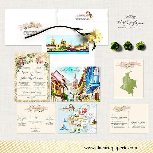 Cartagena Colombia South America Bilingual Destination wedding invitation set
