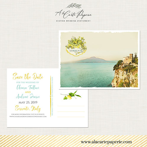 Sorrento Italy Amalfi Coast Save the Date Watercolor Illustrated postcard