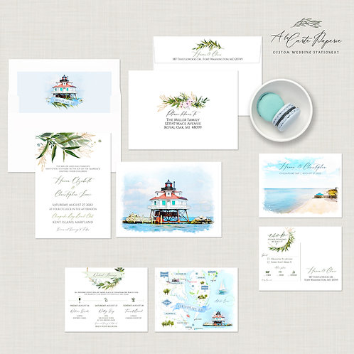 Chesapeake Bay Maryland watercolor Illustrated Destination wedding Invit