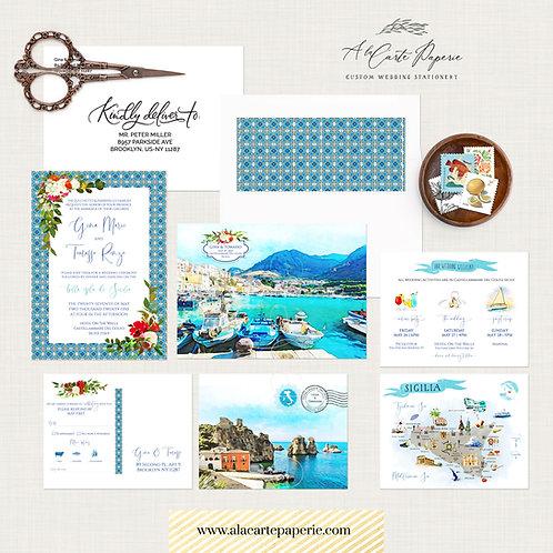 Sicily Castellammare del Golfo Italy Destination watercolor wedding invitation