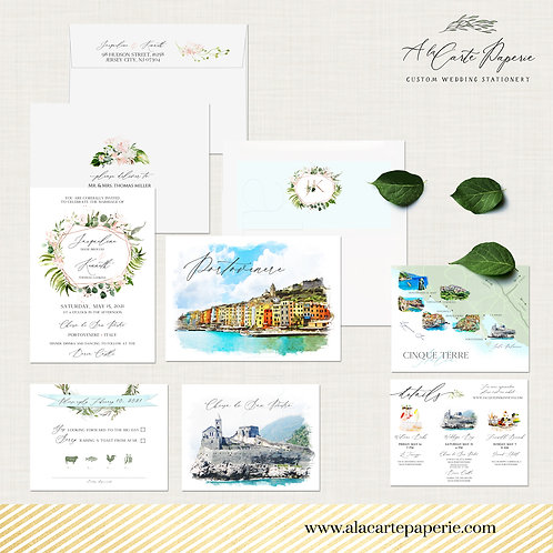 Porto Venere Cinque Terre Italy Illustrated Destination wedding invitation set