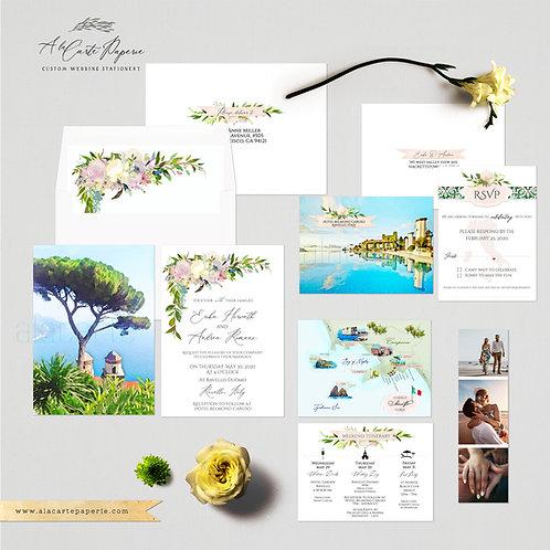 Ravello Amalfi Coast Italy Watercolor Illustrated Destination Wedding Invitation