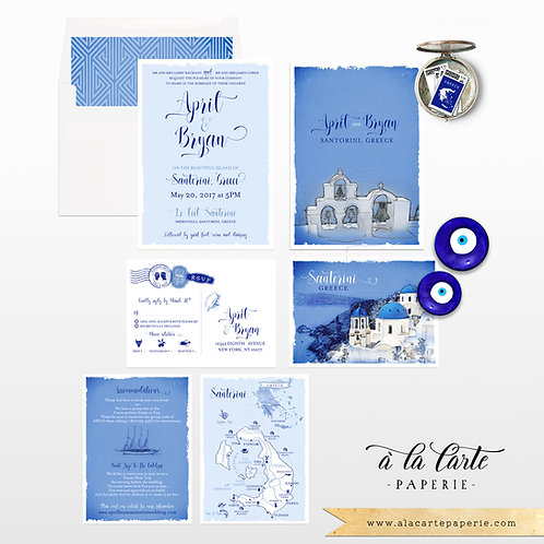 Santorini Greece Greek Island Wedding Invitation set watercolor illustration map