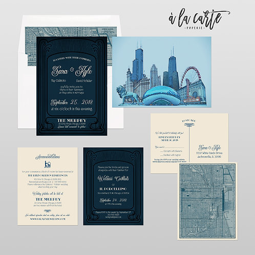 Chicago Illinois illustrated wedding invitation Rustic Urban Industrial Art Deco