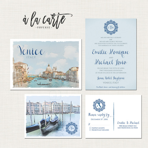 Venice Italy Wedding Invitation Suite Venetian Italian Blues And Greys