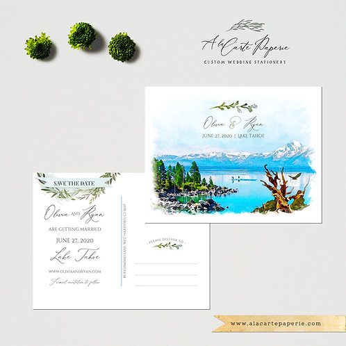 Lake Tahoe California Nevada USA Save the Date illustrated watercolor wedding