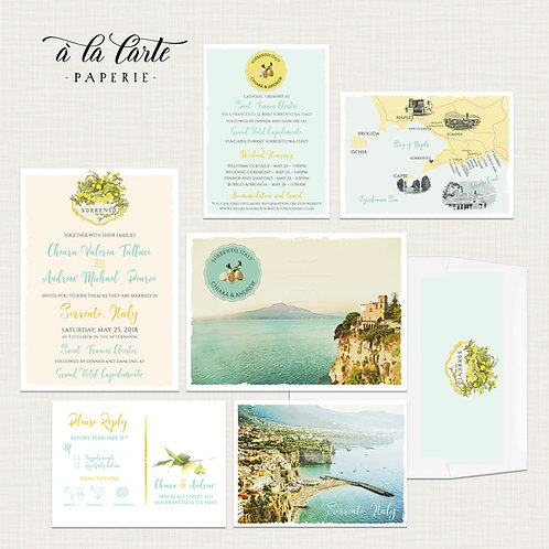 Sorrento Amalfi Coast Italy Illustrated Destination Wedding Invitation Set