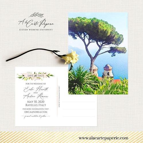 Ravello Italy Amalfi Coast Watercolor Illustrated Save the Date Postcard