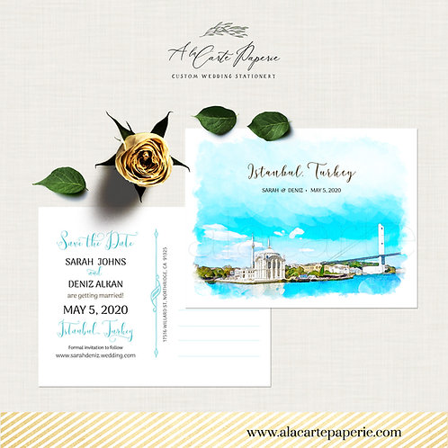 Istanbul Turkey Save the Date Watercolor Illustrated postcard Turkish Wedding