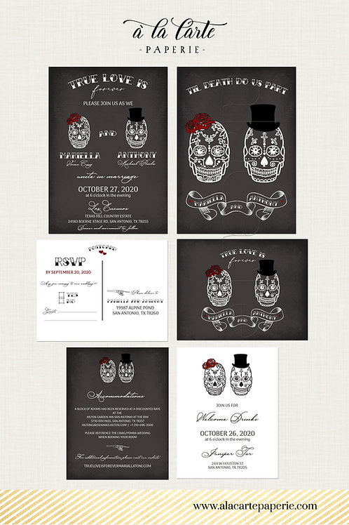 Til Death Do Us Part Chalkboard Inspired Calaveras Couple Wedding Invitation Set