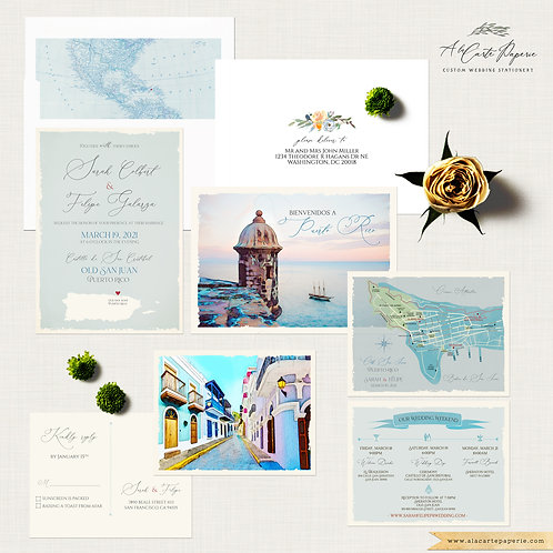 Puerto Rico Destination Wedding Invitation Vieques Island or Old San Juan