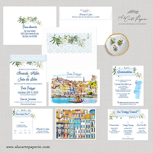 Porto Portugal Watercolor Illustrated Destination Wedding Invitation Set