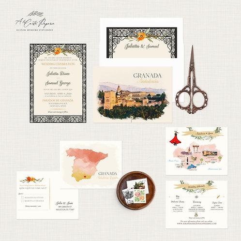 Granada Andalusia Spain Destination Wedding Invitation Mediterranean Watercolor
