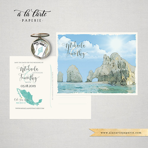 Cabo San Lucas Mexico Destination Illustrated Watercolor Beach Save the Date