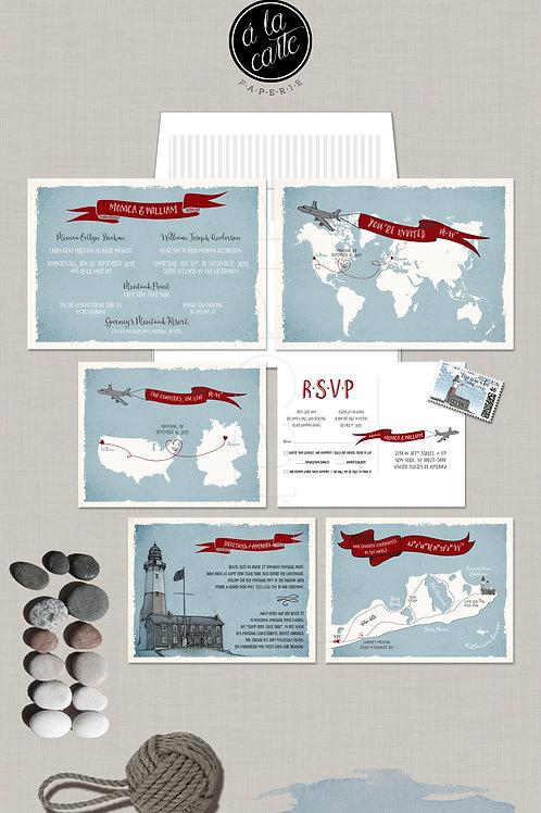 Destination wedding invitation Two Countries World Map Airplane bilingual illust