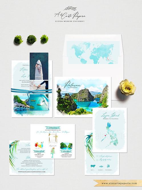 Philippines Destination Filipino wedding watercolor illustrated invitation set