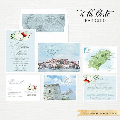 Ibiza Spain Balearic Island Illustrated Destination wedding invitation Europe